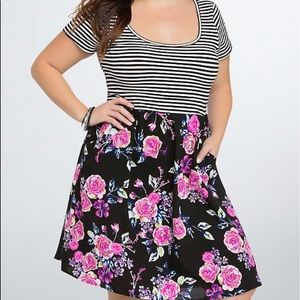 Torrid Dress Horizontal Strip on Top/Floral Bottom